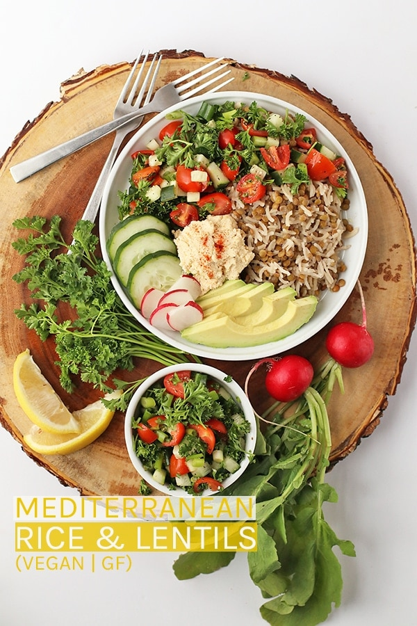 Enjoy this refreshing vegan and gluten-free Mediterranean Rice & Lentils made with fresh cucumber salad and homemade hummus. #vegan #healthy #glutenfree #healthyrecipes #vegetarian #riceandlentils #mediterranean #mydarlingvegan