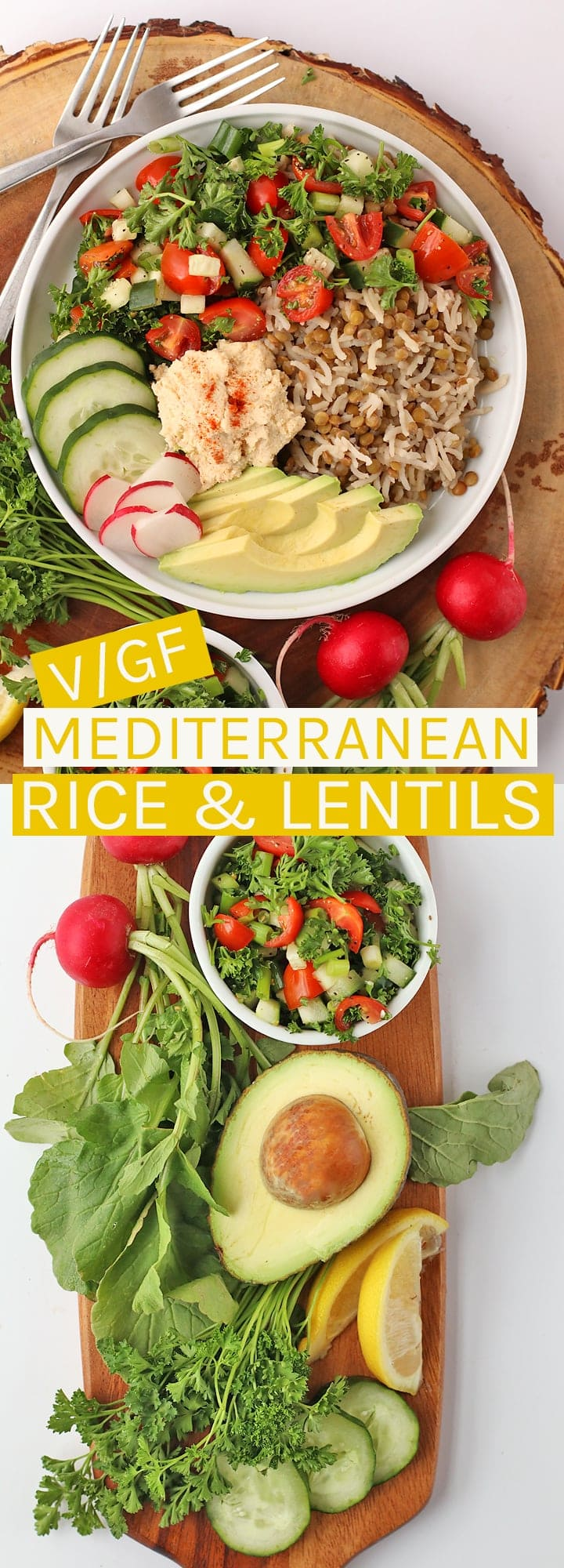 Enjoy this refreshing vegan and gluten-free Mediterranean Rice & Lentils made with fresh cucumber salad and homemade hummus.