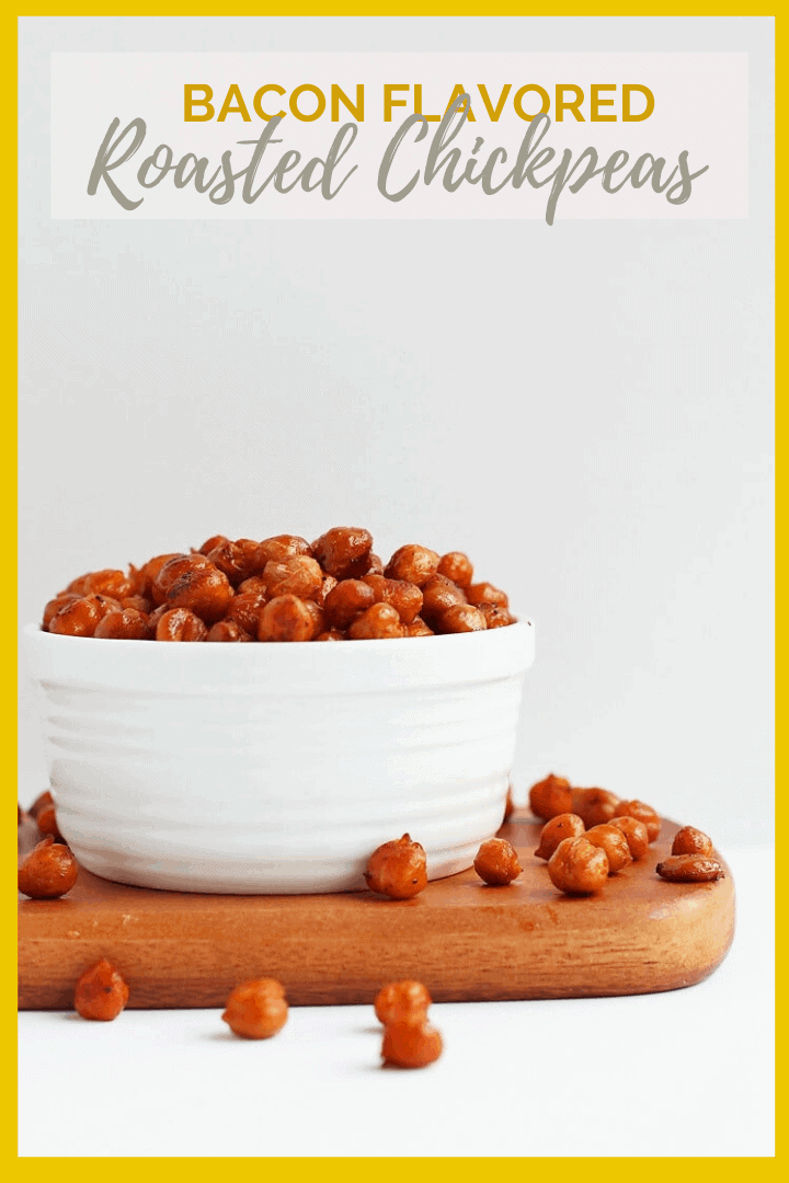 Bacon Flavored Roasted Chickpeas! This sweet and smoky snack can be enjoyed any time of day. Use it to top your favorite soups, salads, and buddha bowls or just eat it by the handful.