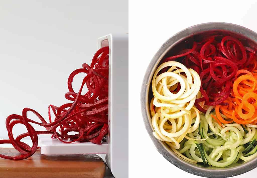 Spiralized carrots, beets, and zucchini