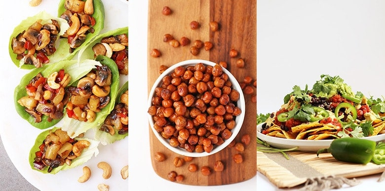 Vegan super bowl recipes - lettuce wraps, bacon flavored chickpeas, vegan nachos