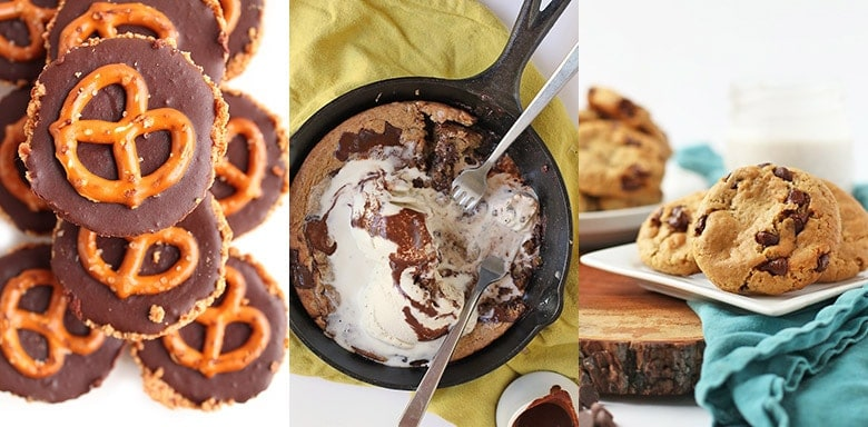 chocolate pretzel tarts, vegan skillet cookie, vegan chocolate chip cookies