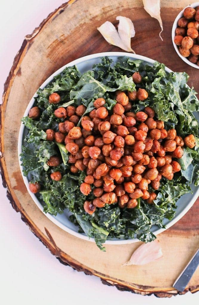 Kale Salad with Bacon Chickpeas and Garlic Dijon Vinaigrette