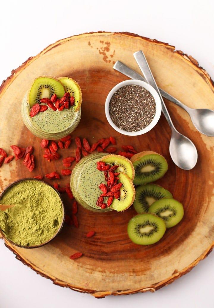 Matcha Chia Pudding with kiwi and goji