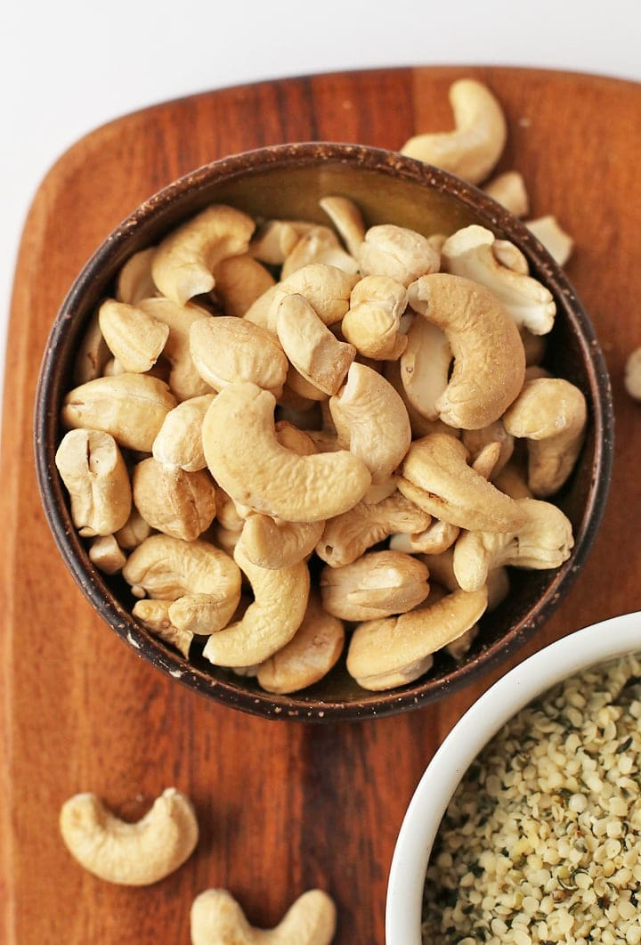 Raw cashews in a bowl