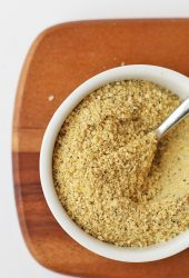 Vegan Parmesan Cheese in a small white bowl