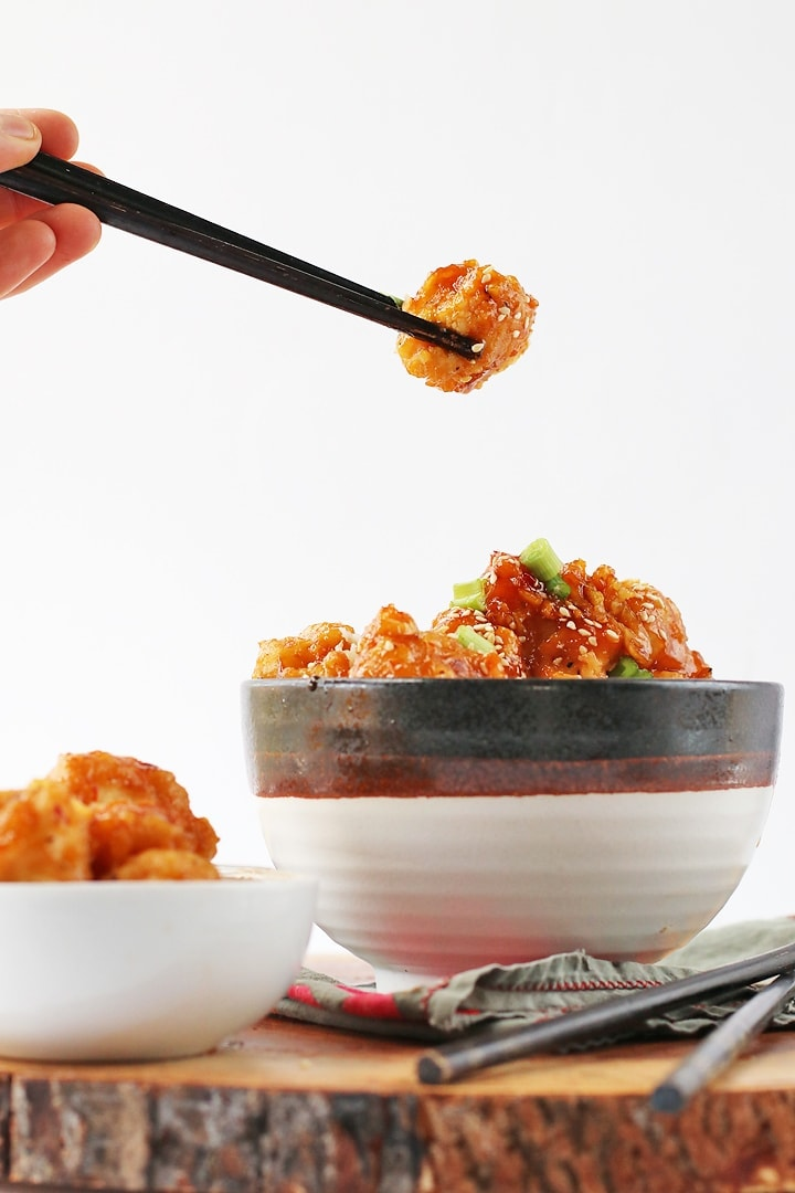 Sesame Cauliflower in a bowl with chopsticks
