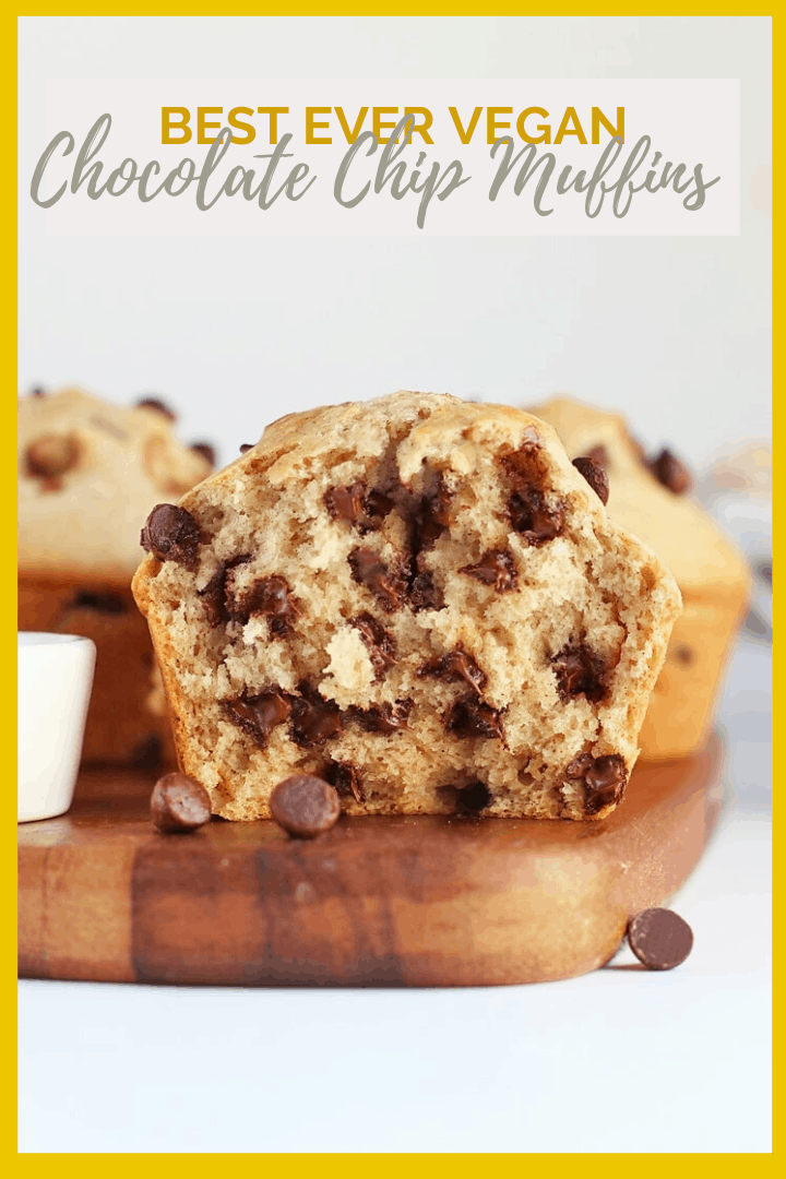Wake up in decadent style with a Bakery-Style vegan Chocolate Chip Muffins. They are moist, fluffy, and bursting with chocolatey flavor. You're gonna love them!