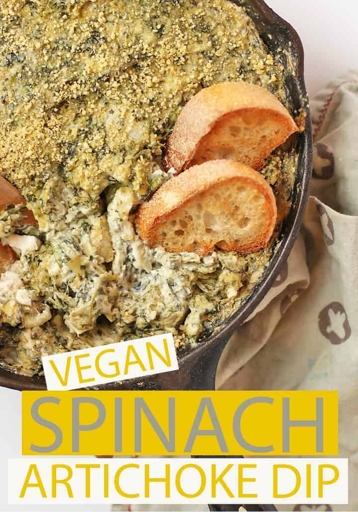 Impress all your friends with this rich and creamy spinach artichoke dip. It can be made in just about 30 minutes for a warm appetizer to share at your next vegan party. #vegan #appetizer