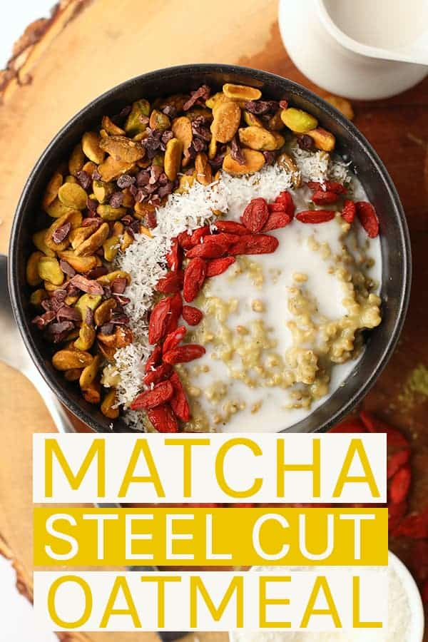 Start your morning off right with these vegan and gluten-free Matcha Steel Cut Oats topped with superfoods to fuel you and give you wholesome energy throughout the day. #vegan #gltuen-free #healthy