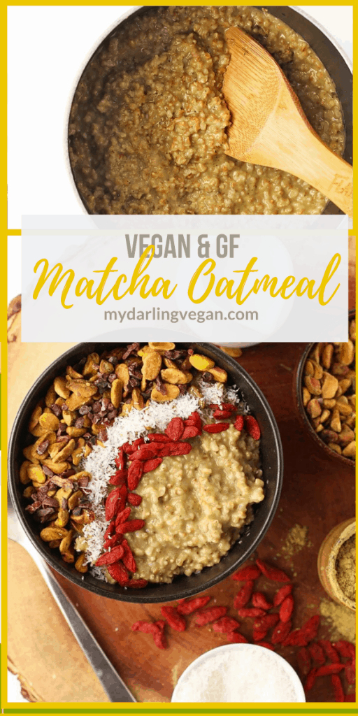 Start your morning off right with this Matcha Oatmeal. It's creamy and flavorful oatmeal topped with superfoods for a hearty and wholesome vegan breakfast.