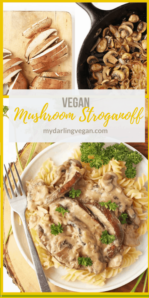 Dinner is made easy with this Vegan Mushroom Stroganoff! This classic dish is made with a combination of juicy portobellos and button mushrooms cooked in a creamy sauce for a delicious pasta dish.