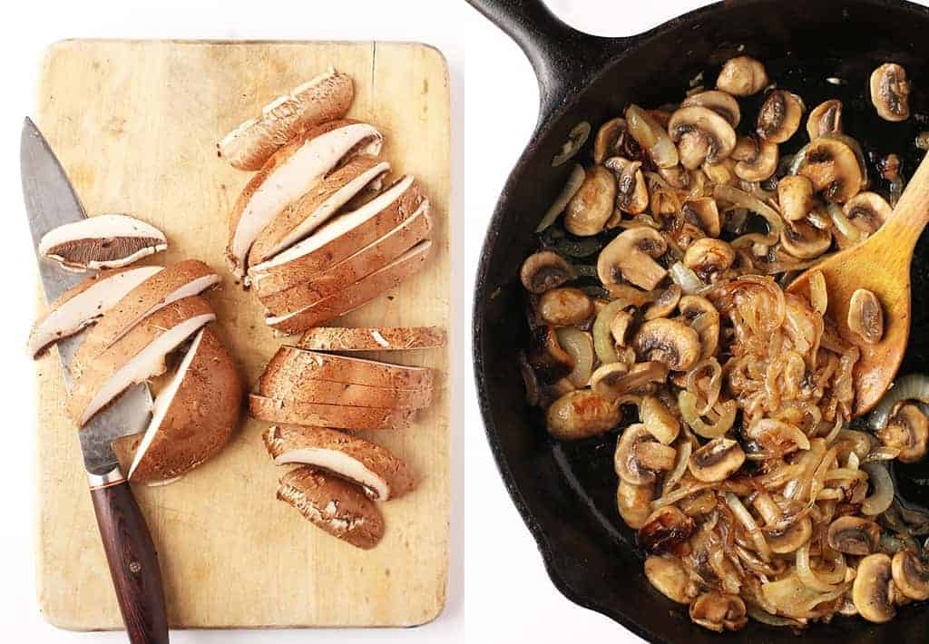 Sautéed mushrooms and onions in a skillet