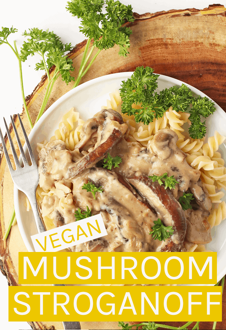 Dinner made easy with this Vegan Mushroom Stroganoff made with a combination of juicy portobellos and button mushrooms for a creamy and tart pasta. #vegan #veganrecipes #mushrooms #stroganoff #vegandinner #dinnerrecipes #mydarlingvegan