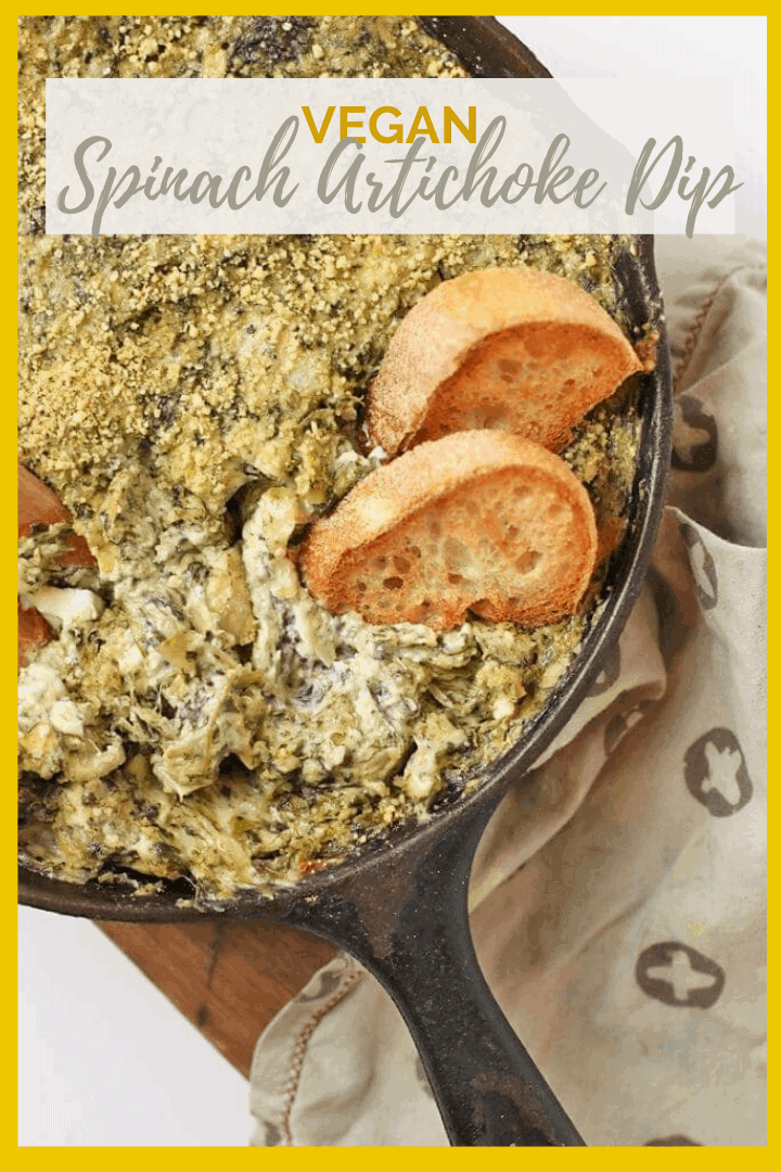Impress all your friends with this extra creamy and rich vegan Spinach Artichoke Dip - a warm dip or spread that is perfect for your next party.