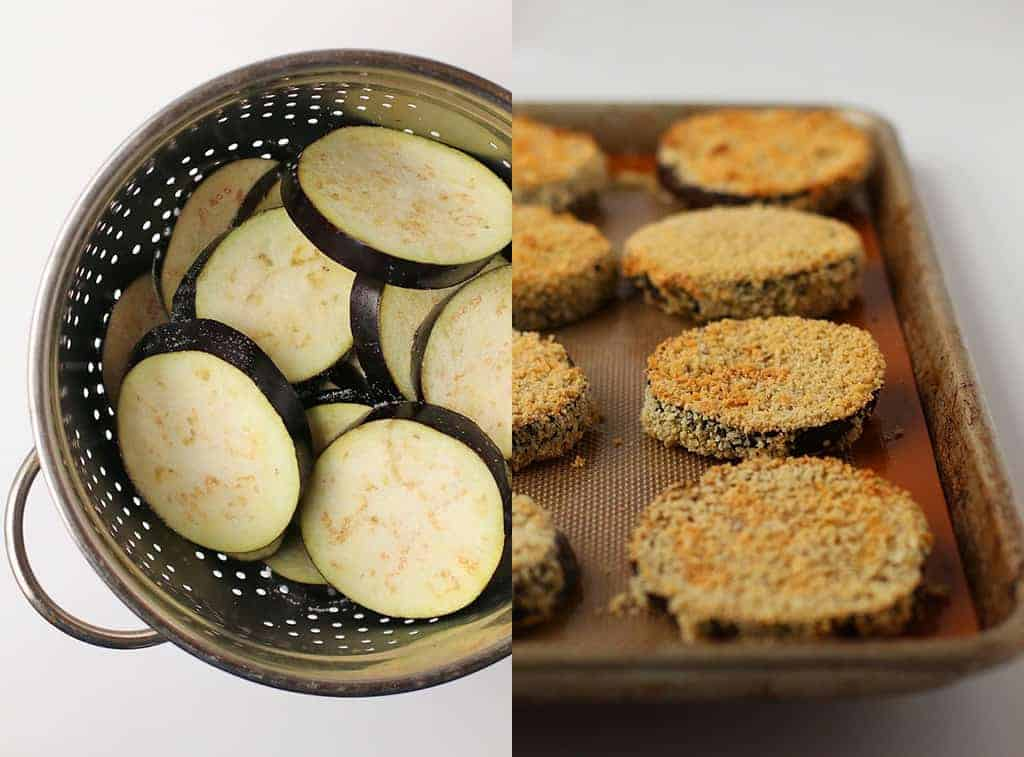 Sliced and breaded eggplant on a sheet pan