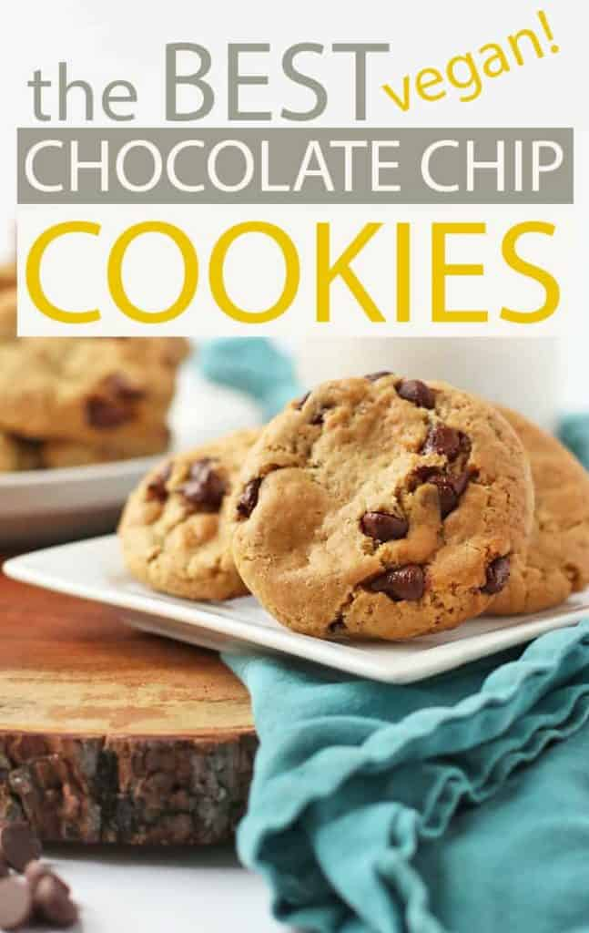 These vegan Chocolate Chip Cookies are exactly like you remember them: soft, chewy, and filled with chocolate in every bite. They can be made in under 30 minutes for a quick and satisfying treat. #vegan #dessert #vegan recipes