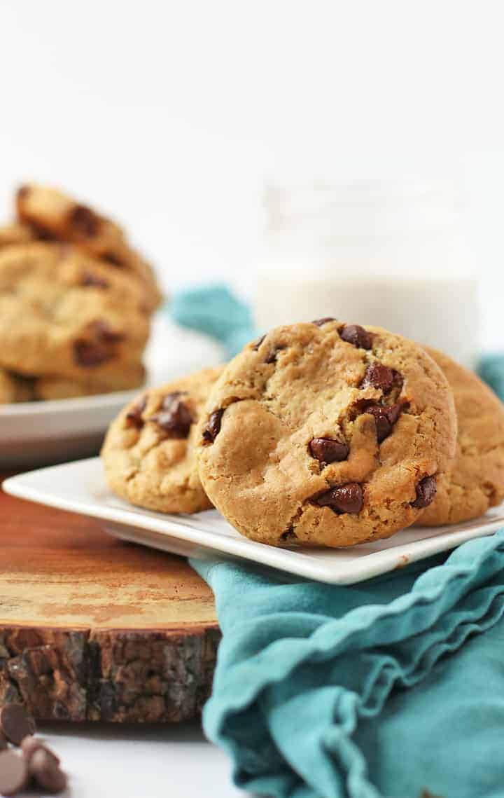 Chocolate chip cookies on a small white plate