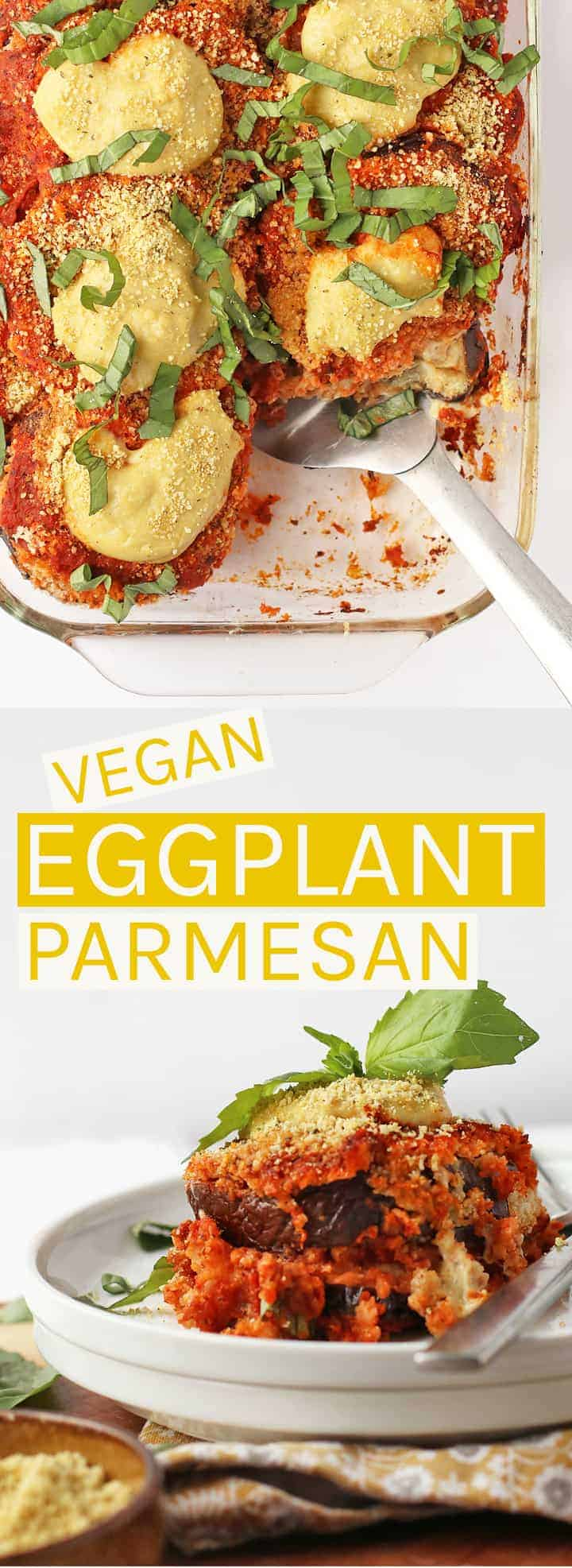 This vegan Eggplant Parmesan is made with two different homemade nut-based cheeses, fresh marinara sauce, and parmesan breaded eggplant for a hearty and delicious dinner the whole family will love. #vegan #veganrecipes #plantbased