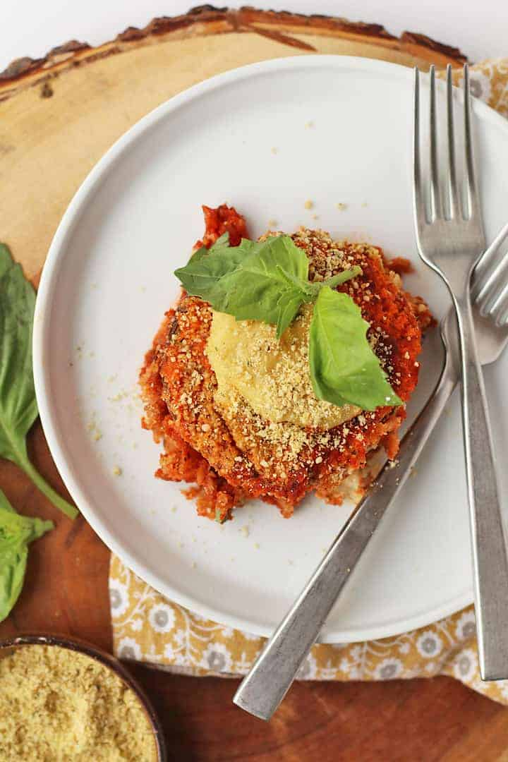 Vegan Eggplant Parmesan on a white plate