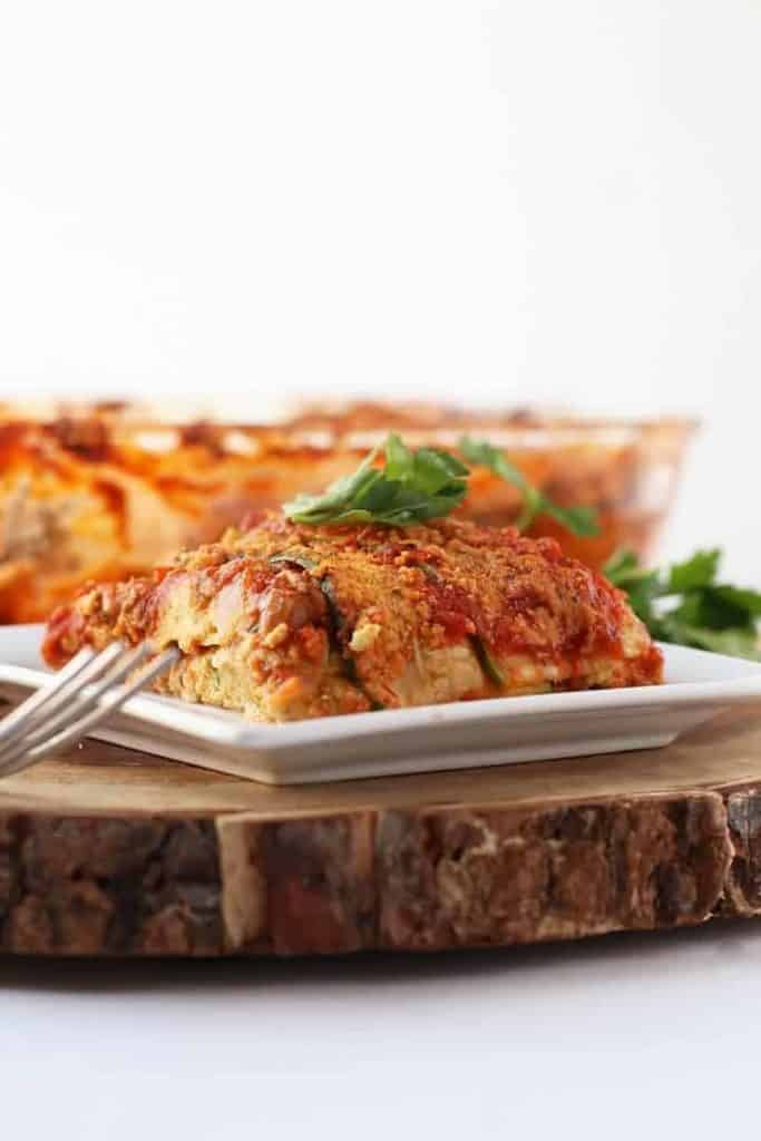 Vegan Zucchini Lasagna on white plate