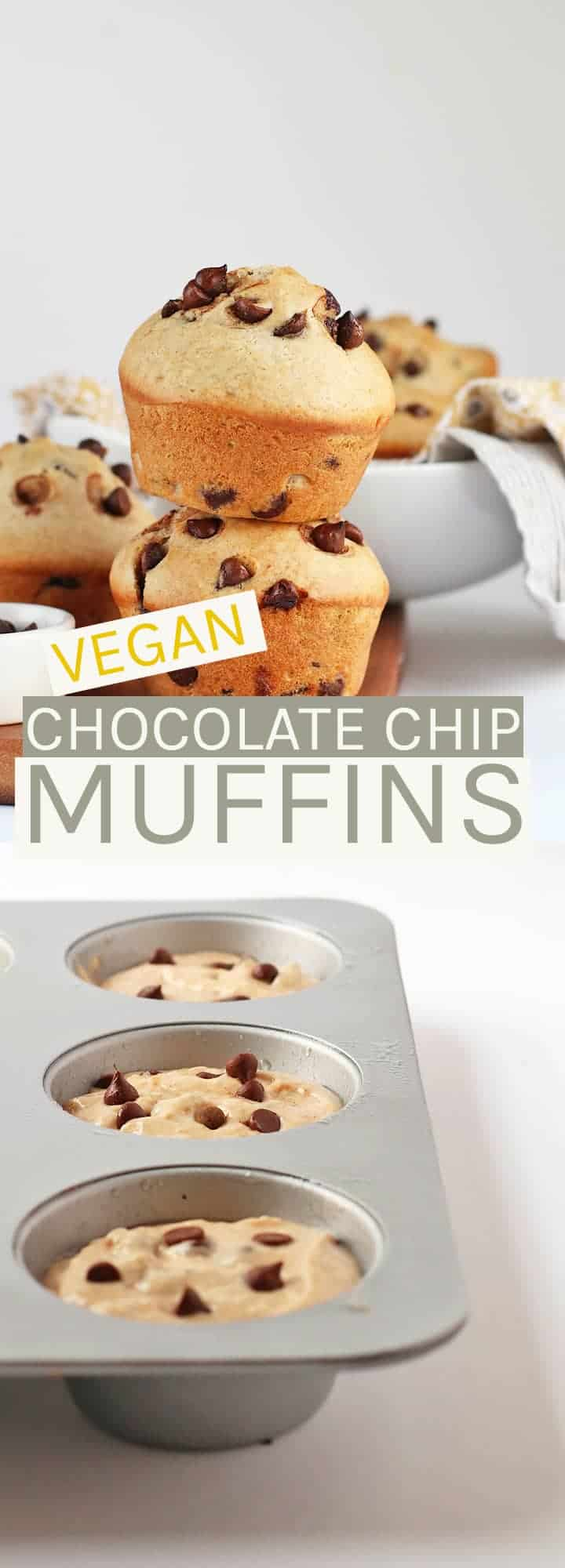 Enjoy these sweet and fluffy vegan Chocolate Chip Muffins filled with chocolate in every bite.