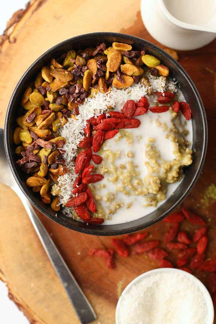 Matcha Oatmeal with Pistachios and Goji Berries