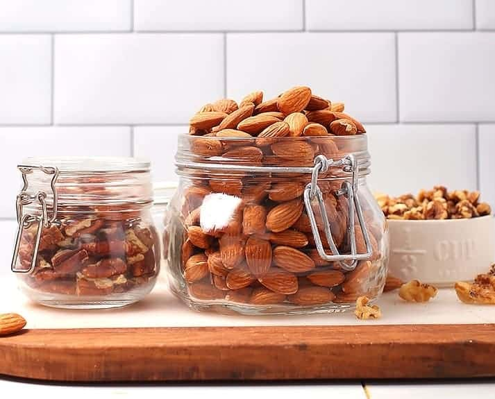 Nuts in glass jars