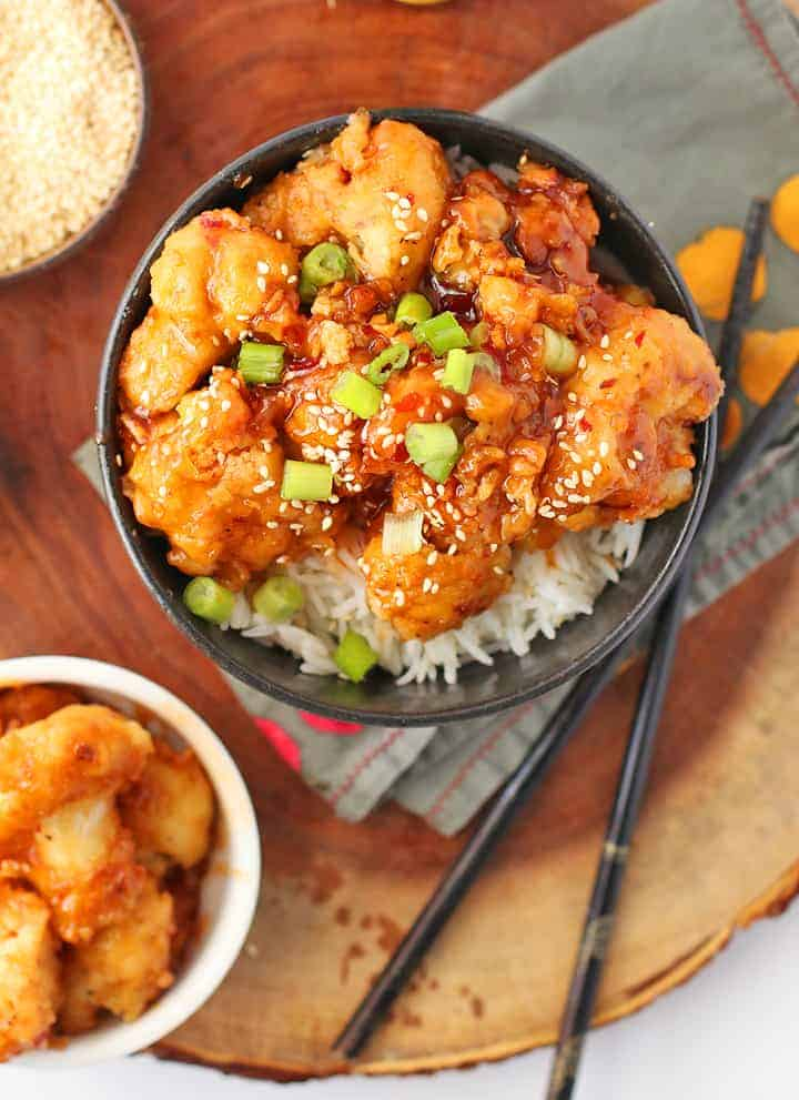 Sesame Cauliflower over rice