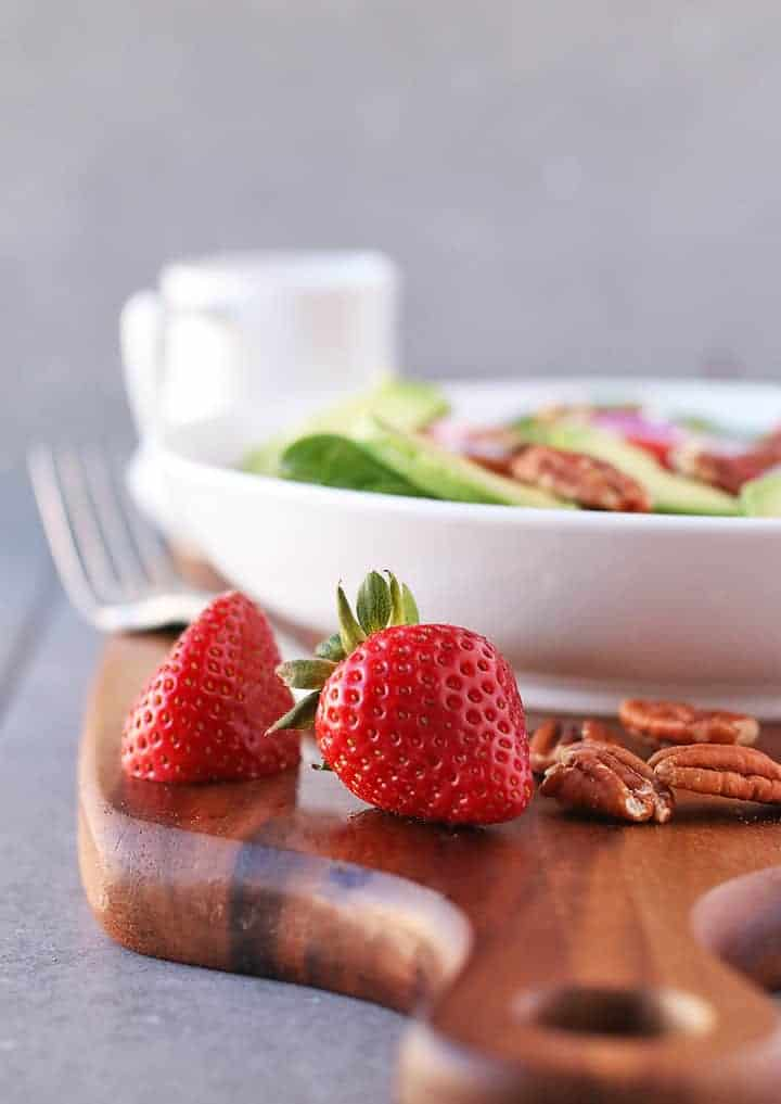 Fresh strawberries and pecans