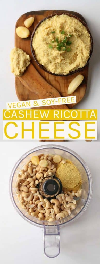 This cashew ricotta cheese is made with just 5 ingredients in under 10 minutes for a rich and creamy ricotta that is both soy and gluten-free!