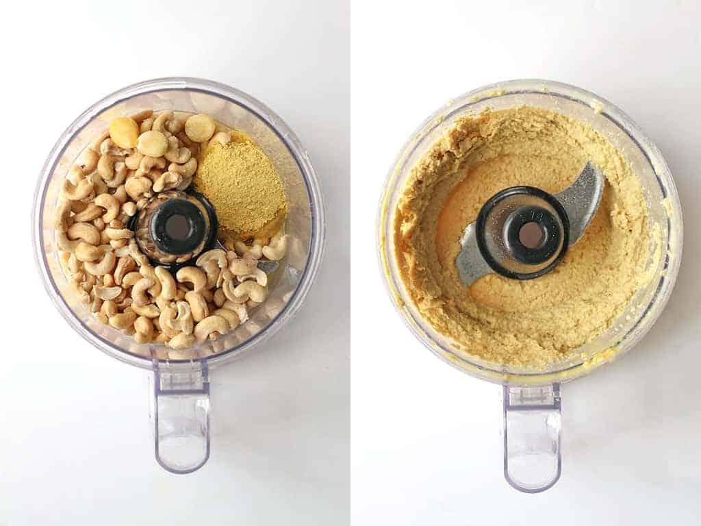 Cashews, nutritional yeast, and garlic in a food processor