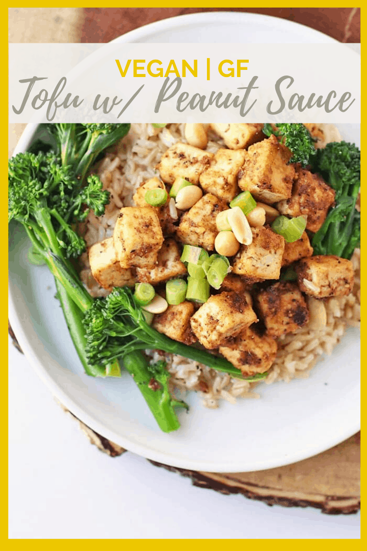 Serve this Tofu with Peanut Sauce with broccolini and rice for a delicious, hearty, and healthy vegan and gluten-free dinner. Made in under 30 minutes!