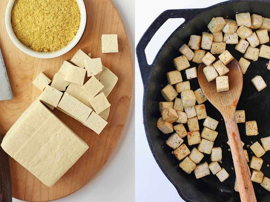 Cubed and fried tofu in a cast iron skillet