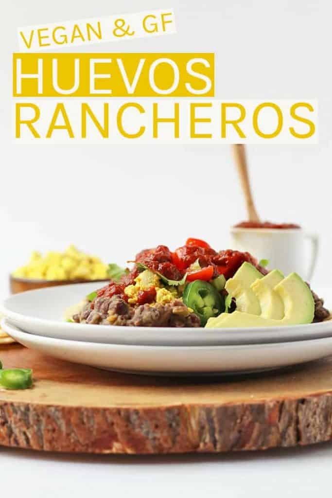 Start your day off right with these Vegan Huevos Rancheros. Made with scrambled tofu, refried beans, and spicy rancheros sauce for a hearty and healthy breakfast.