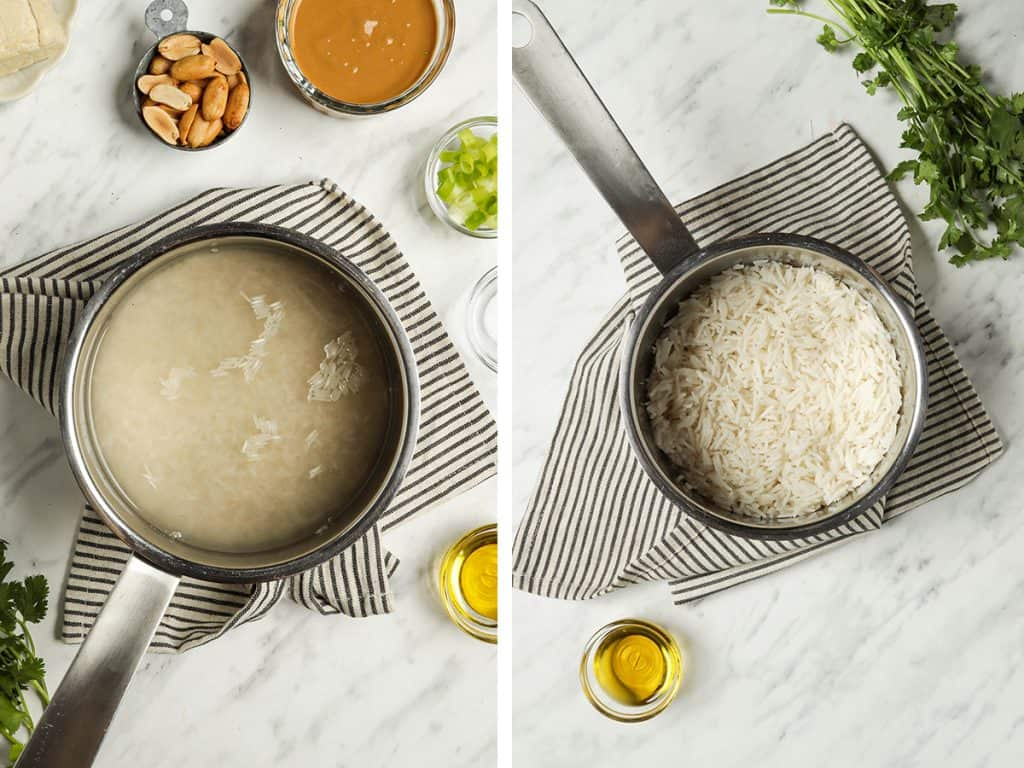 Left: Uncooked rice and water in a saucepan. Right: Cooked and fluffed white rice.
