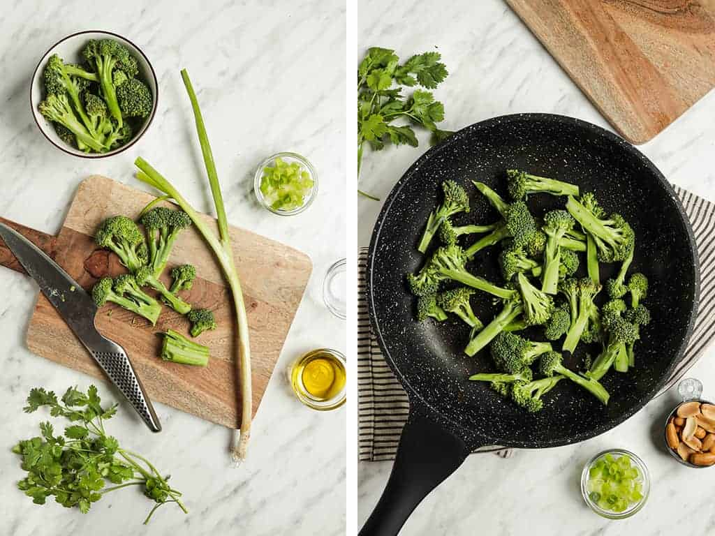 Broccolini cut up into small bite sized florets and cooked in a black skillet