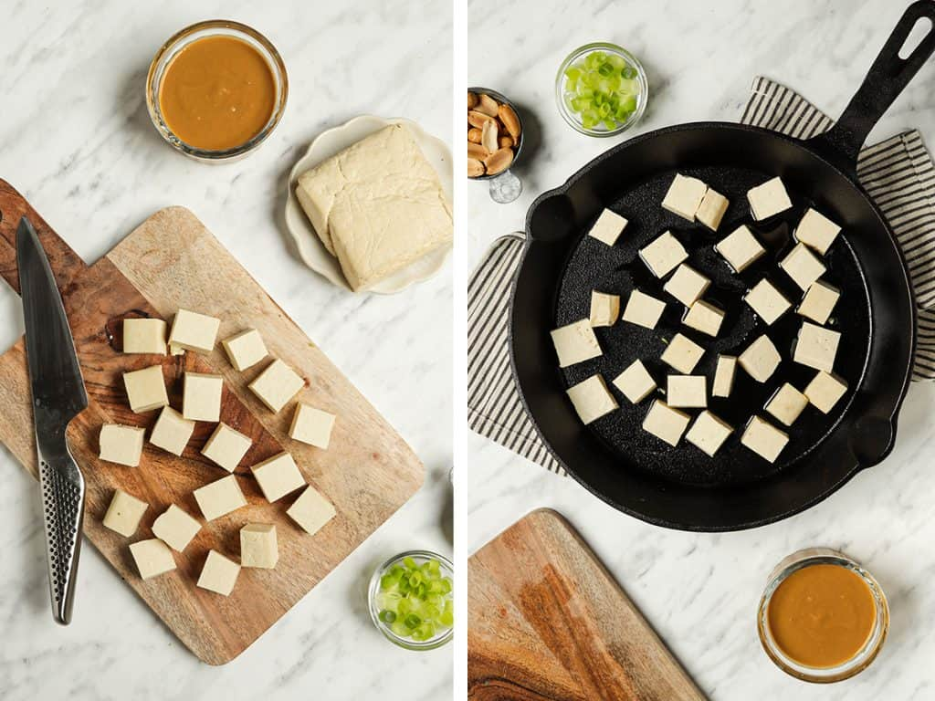 Tofu cut into small cubes and placed in a large cast iron skillet
