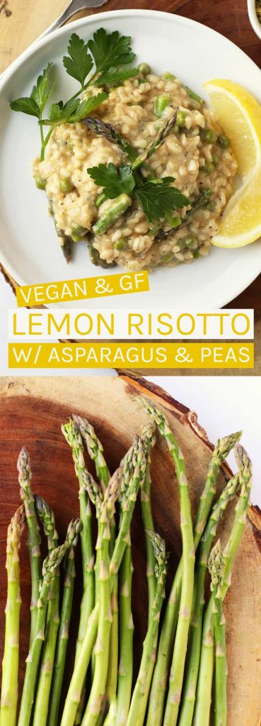 This Vegan Risotto with asparagus and peas celebrates the vegetables of spring for a meal that is hearty, creamy, and delicious.