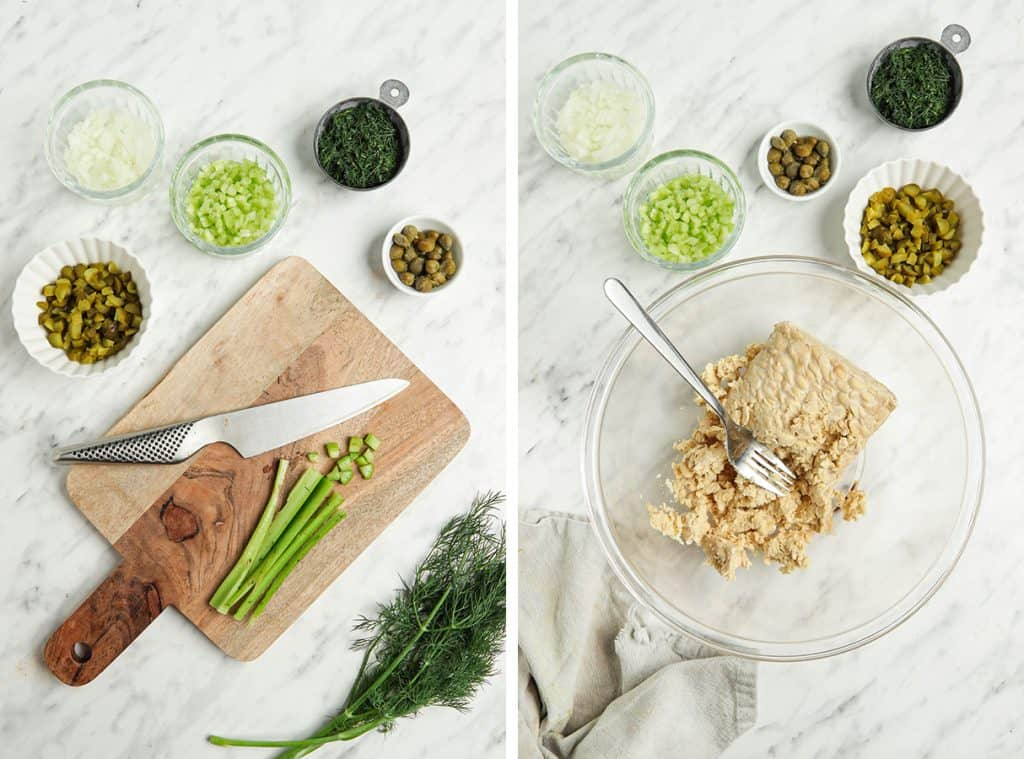 Left: Chopped celery on a cutting board. Right: Mashed tempeh in a glass bowl.