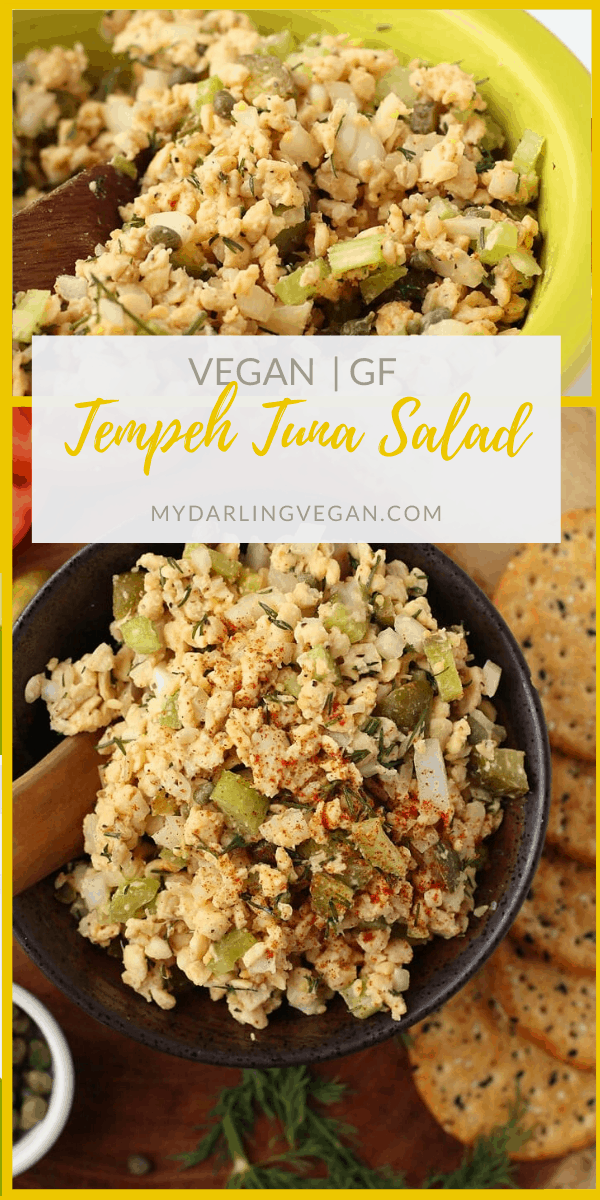 Enjoy this vegan and gluten-free vegan Tuna Salad. Made with tempeh and filled with fresh vegetables and herbs for a light and refreshing any-time-of-day snack.