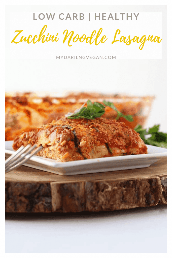 "Filled with homemade cashew ricotta and tempeh ""beef"", this gluten-free and vegan zucchini noodle lasagna is a meal that the whole family will love."