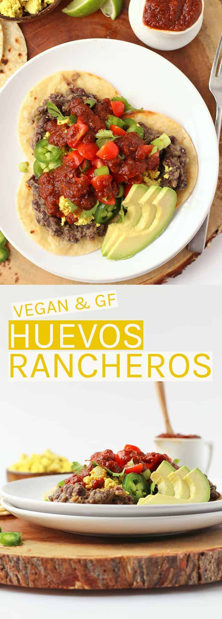 Vegan & gluten-free Huevos Rancheros made with scrambled tofu, refried beans, and ranchero salsa all on top crispy corn tortillas.