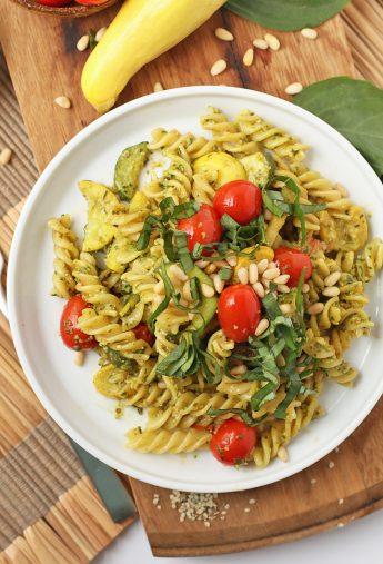 Vegan Pesto Pasta with Summer Squash and Cherry Tomatoes