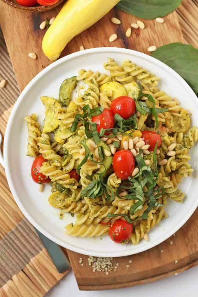 Vegan Pesto Pasta with cherry tomatoes and summer squash
