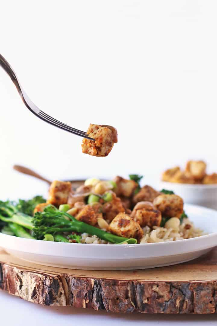 Crispy Tofu on a fork