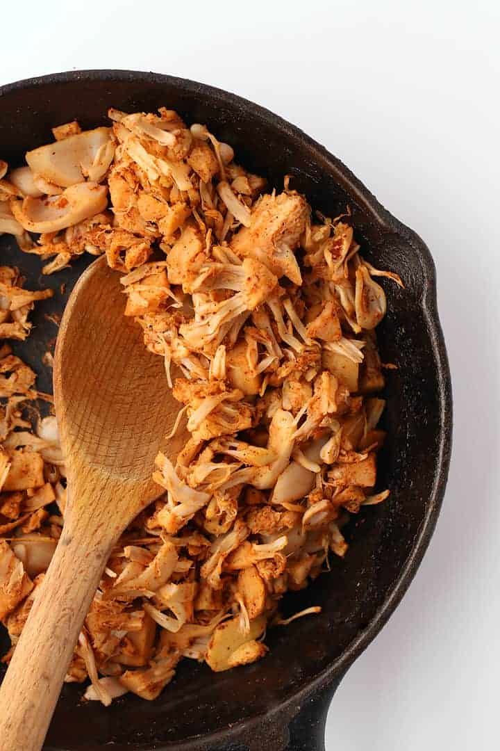 Sautéed Jackfruit in a cast iron skillet