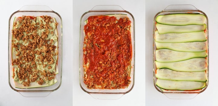 3 Step-by-Step images for layering a lasagna