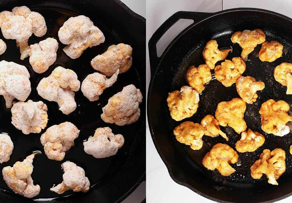 Breaded cauliflower florets in a cast iron skillet