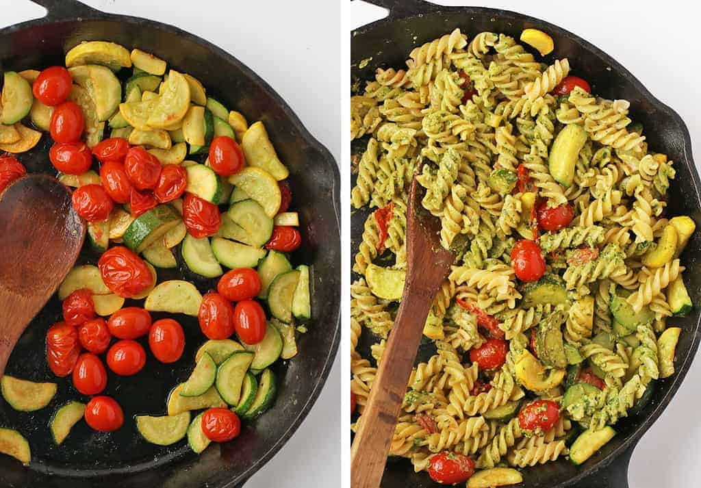Sautéed squash, zucchini, and cherry tomatoes in a cast iron skillet
